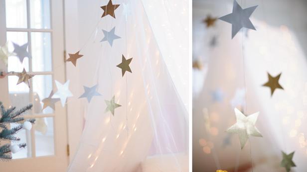 Christmas camp IN star garland craft idea