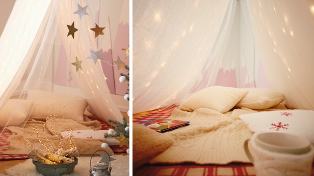 Christmas camp IN tent idea