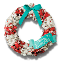 Recycled Christmas Card Crafts: Holiday Wreath #Hallmark #HallmarkIdeas