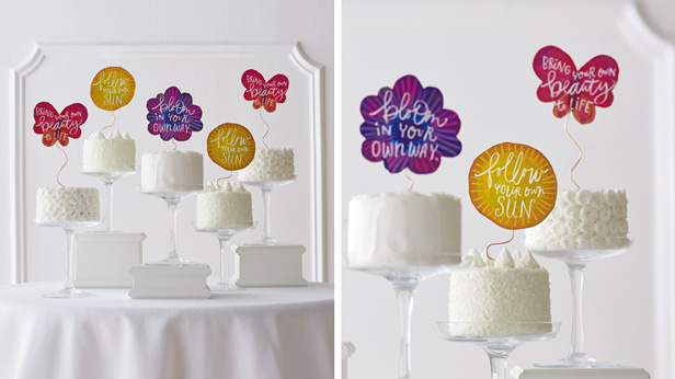 DIY Birthday Cake Toppers Garden Wishes