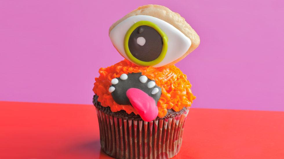 Halloween Cupcakes: Orange Monster #Hallmark #HallmarkIdeas