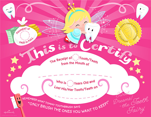 Tooth fairy certificate hallmark for Free printable tooth fairy certificate template