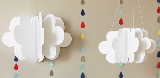 Love Makes Good Things Grow Baby Shower Theme & DIY Decorations: Fluffy Clouds & Raindrop Streamers #Hallmark #HallmarkIdeas