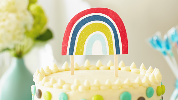 Love Makes Good Things Grow Baby Shower Theme & DIY Decorations: Rainbow Cake Topper #Hallmark #HallmarkIdeas