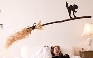 DIY Halloween Decorations: Floating Broom #Hallmark #HallmarkIdeas