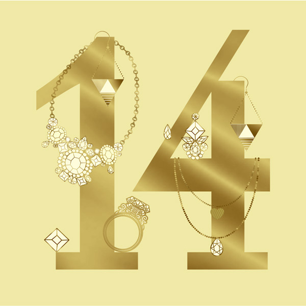 Number 14 with symbols for gold jewelry [Anniversary Gifts by Year]