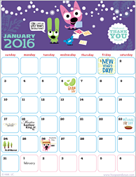 Hoops and Yoyo Free Printable Calendar | Hallmark