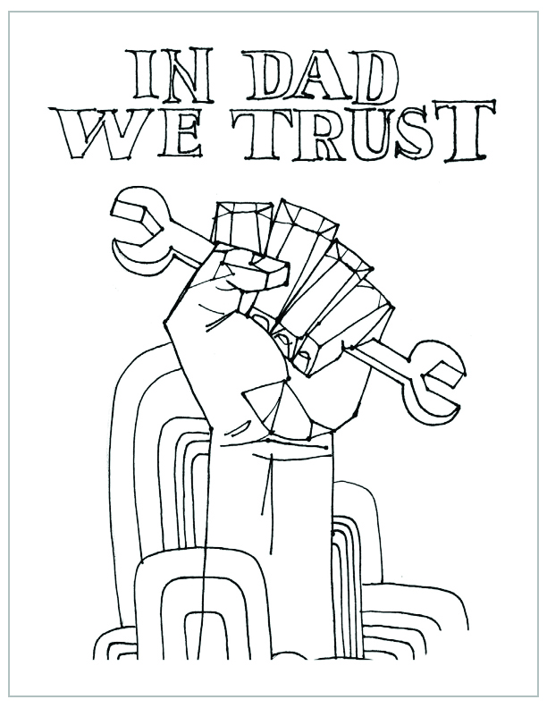 free printable fathers day coloring page in dad we trust