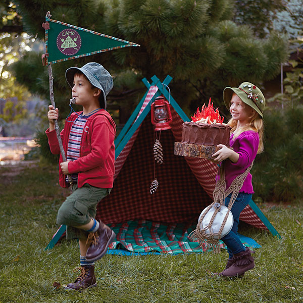Camping Birthday Party Ideas: Campfire Cake and Decorations