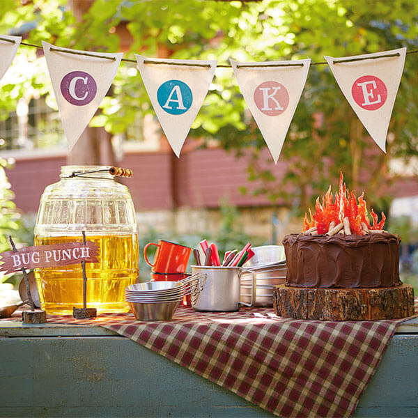 Camping Birthday Party Ideas: Cake Table Decorations and Free Printables