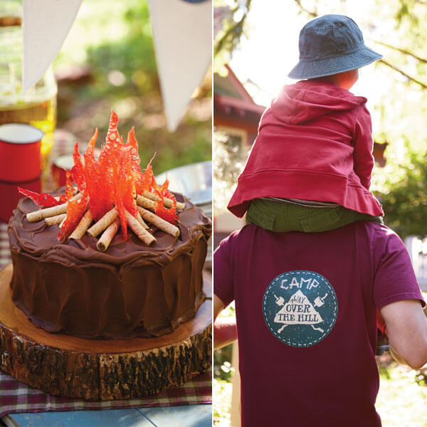 Camping Birthday Party Ideas: Campfire Cake Recipe and Camp Logo T-shirt Printable