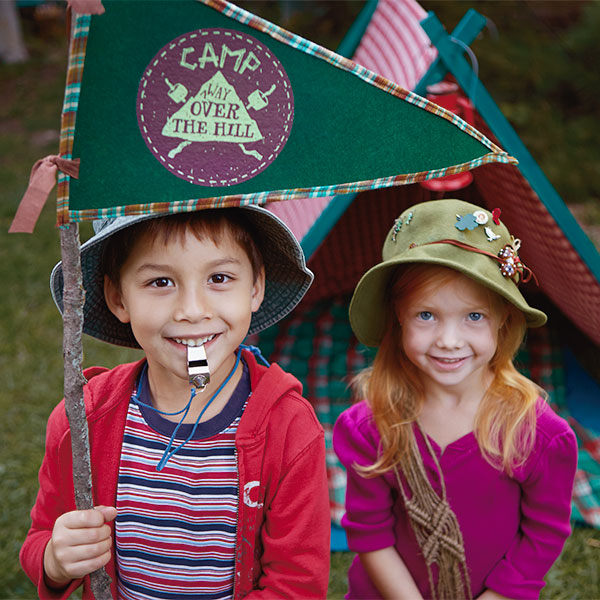 Camping Birthday Party Ideas: Camp Flag Free Printable