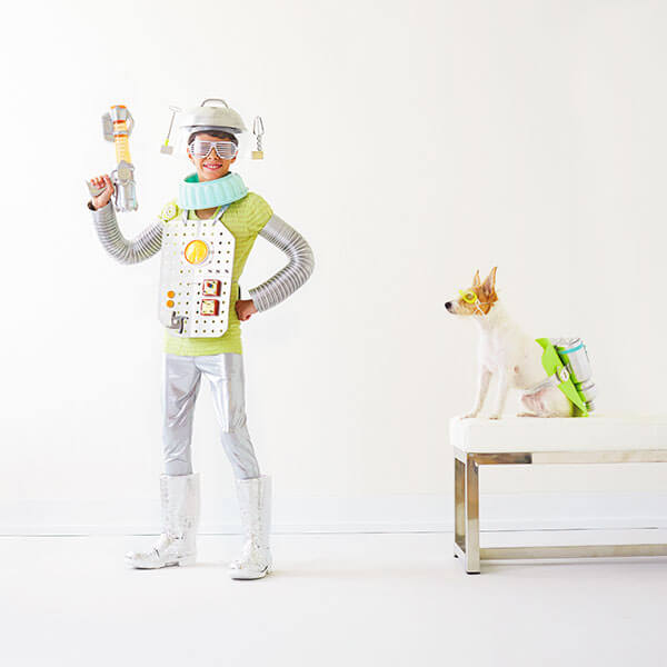 DIY Family Halloween Costumes: Robot Boy and Cosmic Canine