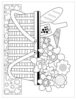 Summer Coloring Pages For Kids Picnic Basket