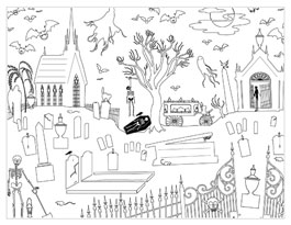 halloween coloring pages grave scene