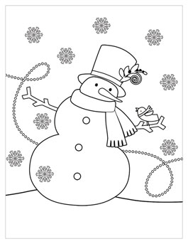 printable christmas coloring page snowman