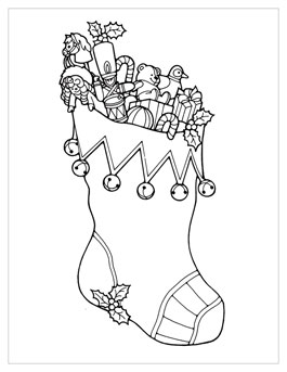 printable christmas coloring page stocking