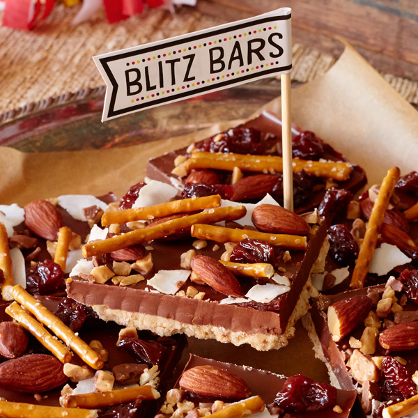 Chocolate coconut almond bars with salted pretzel crust