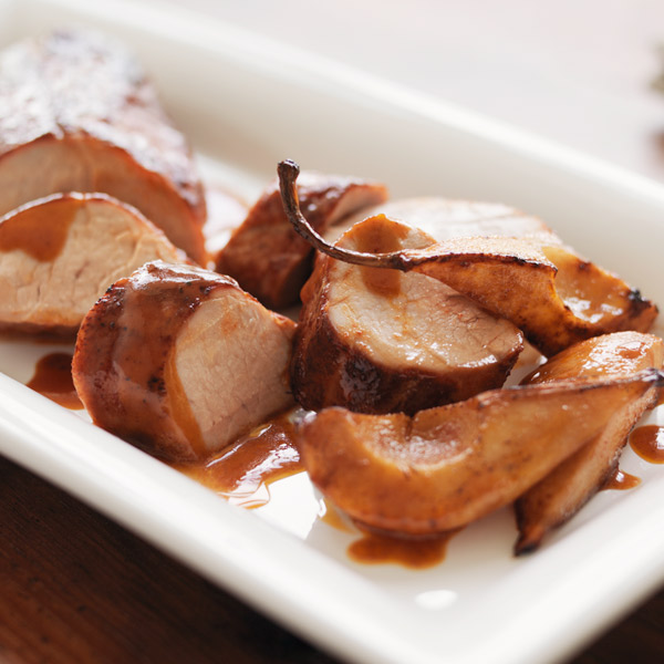 Roasted pork tenderloin with pears and honey-mustard glaze