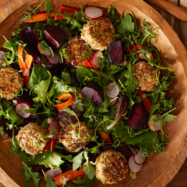 Roasted beet salad with goat cheese croquettes