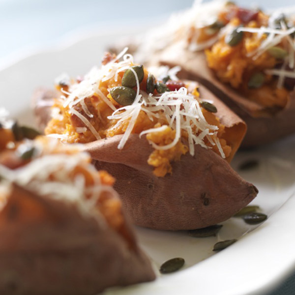 Twice baked sweet potatoes with ham and cheese