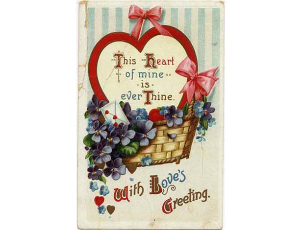 Valentine's Day cards through the years: 1910s Pansies Basket