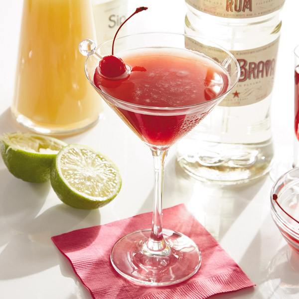 Cherry-peary pink rum drink
