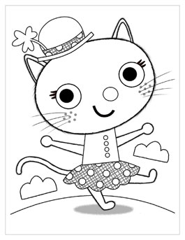 Free Printable St. Patricku0027s Day Coloring Pages: Kitty Irish Jig