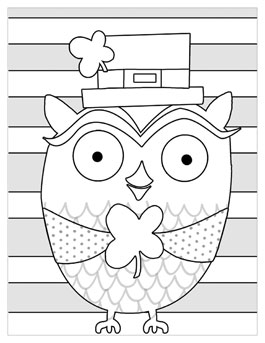 free printable st patricks day coloring pages lucky owl