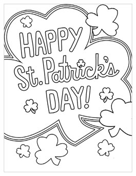 Free Printable St. Patricku0027s Day Coloring Pages: Shamrock