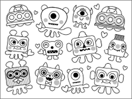 Valentine's Day coloring page: cute creatures
