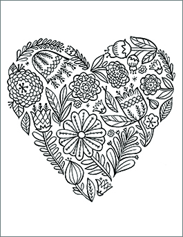 valentines day coloring page floral heart - Downloadable Coloring Pages