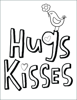Valentine's Day coloring page: hugs & kisses