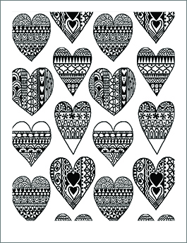 Valentines Day Coloring Page Pattern Hearts