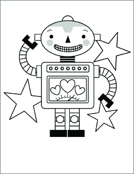 valentines day coloring page robot - Valentine Day Coloring Pages