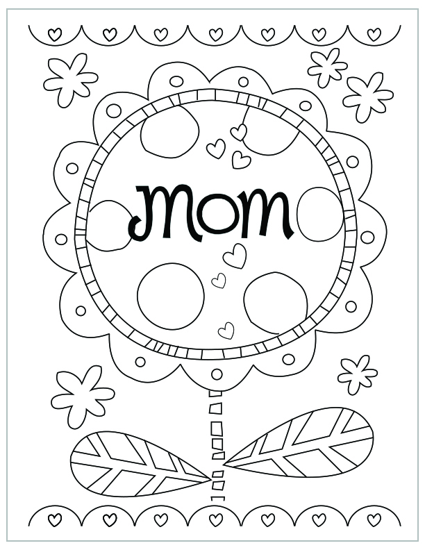 Mothers Day Free Printable Coloring Pages Mom Flower