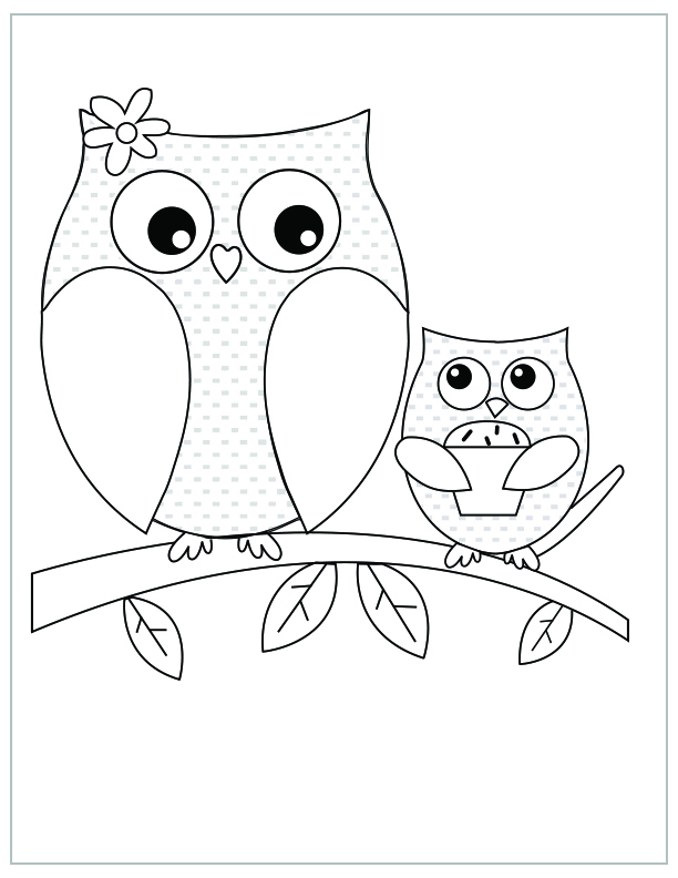 mothers day free printable coloring pages owl and owlet - Free Mothers Day Coloring Pages