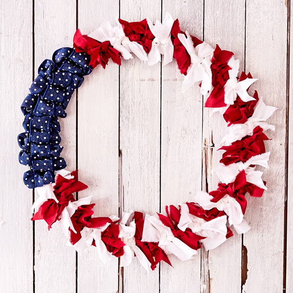 diy 4th of july decorations tied wreath - 4th Of July Decorations