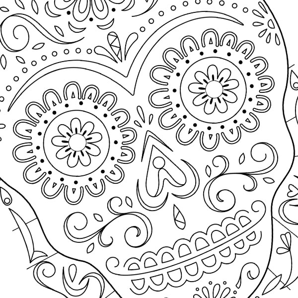 day of the dead sugar skulls coloring page - Day Of The Dead Coloring Pages