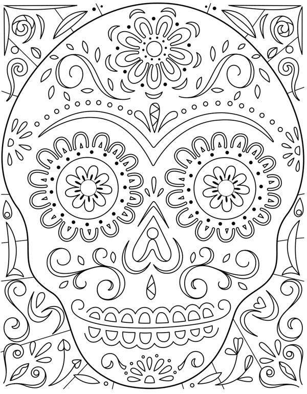 Day Of The Dead Sugar Skull Coloring Page Hallmark Ideas & Inspiration