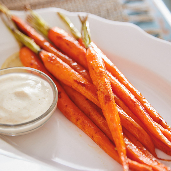 Whole Roasted Carrots with Lemon Cumin Yogurt