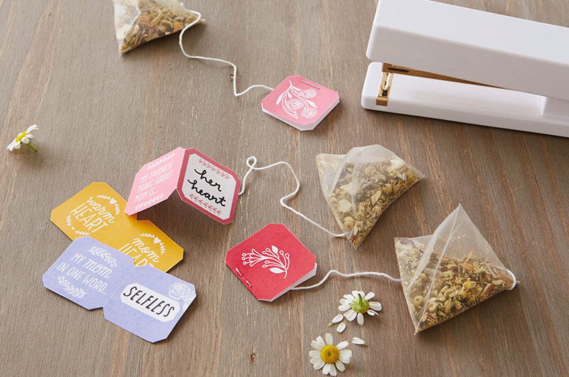 DIY Mother's Day Tea Printable teabags on table