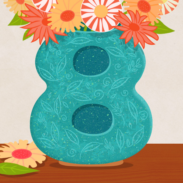 8-anniv-ideas Illustration of a turquoise vase (the traditional 8th anniversary gift is pottery) with a floral pattern shaped like the number eight (for the 8th anniversary) on a table. The vase is filled with flowers in a variety of colors.