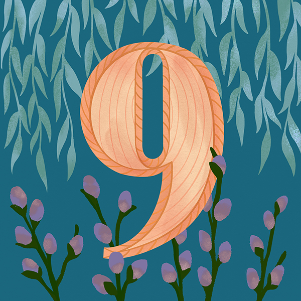 9-anniv-ideas Illustrated woven number nine (for 9th wedding anniversary) against a blue background with illustrated willow tree and pussy willows (willow/wicker is the traditional 9th anniversary gift)