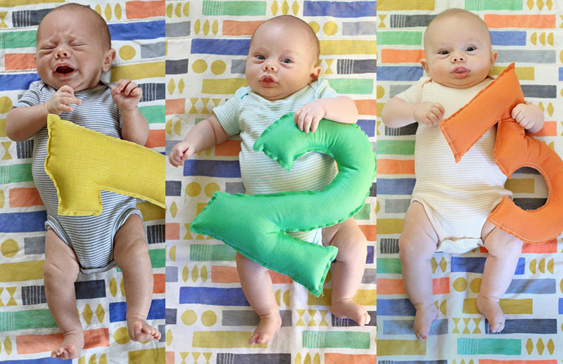 Monthly Baby Photo example months 1, 2, and 3
