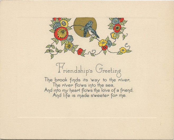 A vintage Friendship Day card from the 1920s
