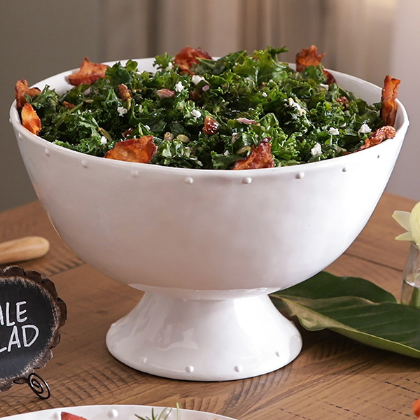 Warm Kale Salad with Bacon Dressing in a bowl