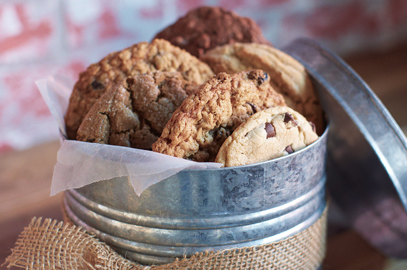 Family chocolate chip cookies in tin for Preserving Family Recipes