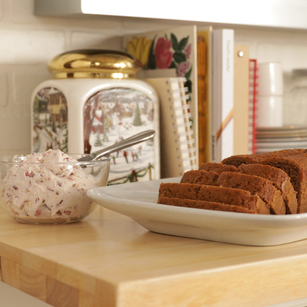Gingerbread Loaf with Pomegranate Lemon Cream Cheese