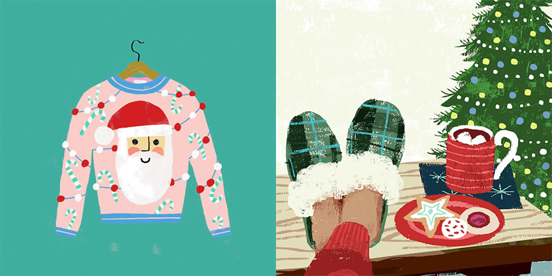 Christmas sweaters and relaxing in the festive environment